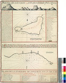 Early European drawing of moai, in the lower half of a 1770 Spanish map of Easter Island
