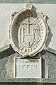 Eberndorf Kirchplatz 1 Augustinerchorherrenstift äußeres Tor Christusmonogramm 31082017 5459.jpg