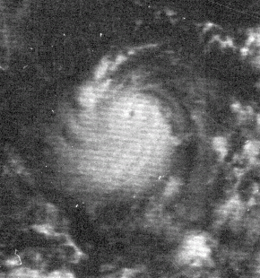 A radar image of Hurricane Edith near Central America. The storm is at or near its peak intensity.
