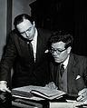Edwin Clarke and Noel Poynter. Photograph by BIPS. Wellcome V0027866.jpg