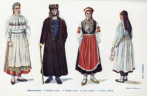Estonians - Estonian national costumes: 1. Kadrina 2. Mihkli 3. Seto 4. Paistu
