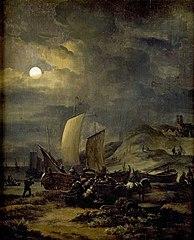 Strand met vissersboten bij maanlicht