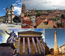 Top left:Eger Minorita church, Top right:View of Eger from the castle. Bottom left:Egri Bazilika, Bottom right:Minaret Eger