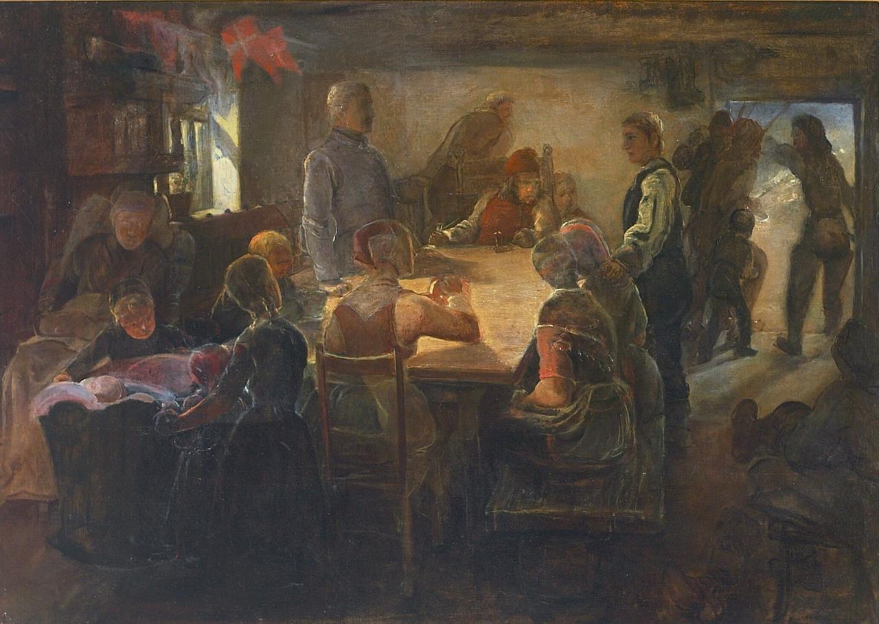 Elisabeth Jerichau Baumann - Interiør med en forsamling, Harboøre.png