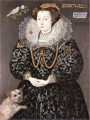 Giles Brydges, 3rd Baron Chandos - Signed and dated portrait of Elizabeth Brydges, aged 14, daughter of the 3rd Baron Chandos and maid of honour to Elizabeth I, 1589.