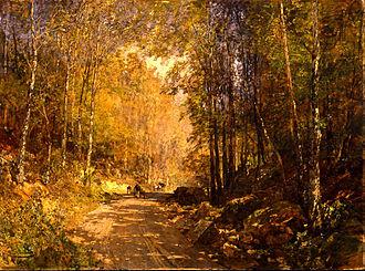 Emil Jakob Schindler - Image: Emil Jakob Schindler Forest Lane near Schärfling Google Art Project