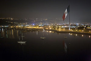 Ensenada, Baja California - A Bandera monumental in Ensenada at night