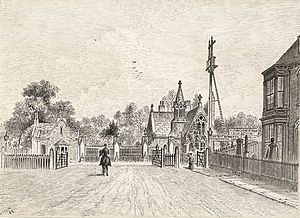 Hull General Cemetery - Image: Entrance to the Spring Bank Cemetery, showing the Botanic Gardens Level Crossing, 1889