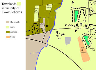 Borris, Twomileborris - The modern houses and field boundaries in, and around, Twomileborris village, showing how these relate to the boundaries of the townland exclaves and enclaves