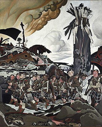 Eric Kennington - The Conquerors; originally titled The Victims it was renamed after objections  from Lieutenant-Colonel Cyrus Wesley Peck, the commanding officer of 16th Battalion (Canadian Scottish), CEF