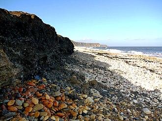 Horden - Eroding bank of coal-mine waste, Horden Beach