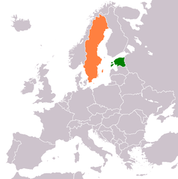 Map indicating locations of Estonia and Sweden