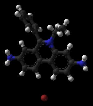 Ethidium bromide - Image: Ethidium bromide from monohydrate xtal 1971 3D balls B