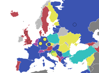 EuroBasket - Map of best finishes per country.