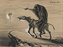 "A cartoon named ""Europe 1916"" depicts Death riding a donkey toward the edge of a cliff. Death holds a long stick from which dangles a carrot just out of reach of the skinny donkey. The carrot is labeled ""Victory""."