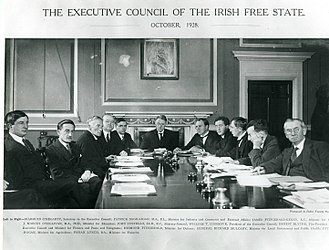 Government of the 6th Dáil - Executive Council of the Irish Free State – October 1928. L–R: Diarmuid O'Hegarty, Patrick McGilligan, James FitzGerald-Kenney, John M. O'Sullivan, John A. Costello, W. T. Cosgrave, Ernest Blythe, Desmond FitzGerald, Richard Mulcahy, Patrick Hogan and Fionán Lynch.