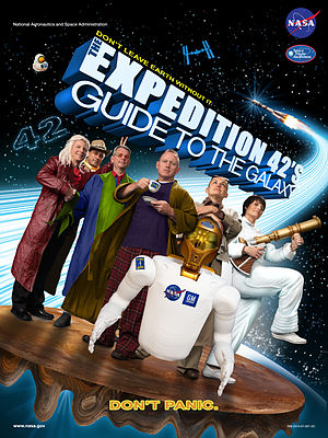 Expedition 42 - Image: Expedition 42 'The Hitchhiker's Guide to the Galaxy' crew poster