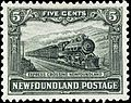 Express crossing Newfoundland 5c 1928 issue.jpg