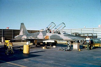 "San Antonio Air Logistics Center - Northrop F-5B Freedom Fighter (s/n 65-13074) of the 602th Fighter Squadron at Bien Hoa Air Base, South Vietnam, in 1966. It was part of the project ""Skoshi Tiger"" to evaluate the F-5."