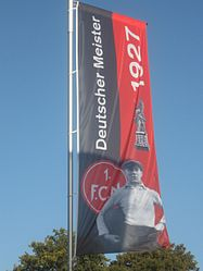 FC Nürnberg as a champion'1927 banner. Heinrich Stuhlfauth photo
