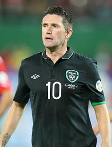 Robbie Keane playing for the Republic of Ireland in 2013
