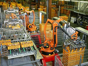 Automation - KUKA industrial robots being used at a bakery for food production