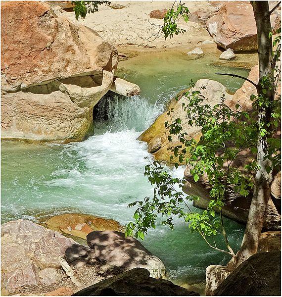 File:Fall of Water, Zion NP, Riverside Walk 5-1-14zra