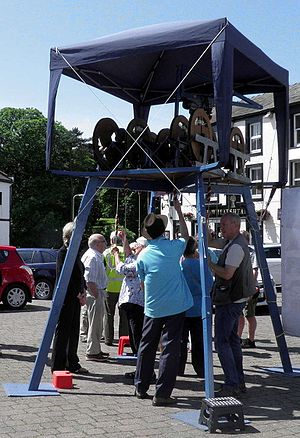 Full circle ringing - A mini ring is a portable ring of bells which demonstrates the English full-circle style of ringing. The public can easily see how it works.