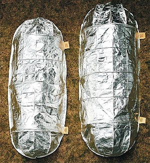 Fire shelter - US federal government-issue fire shelters in the deployed state