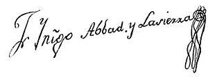 Fray Íñigo Abbad y Lasierra - Fray Íñigo Abbad y Lasierra's signature