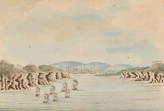 Convicts in Australia - The First Fleet arrives in Botany Bay, 21 January 1788, by William Bradley (1802)