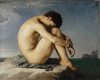 Jean-Hippolyte Flandrin - Jeune homme nu assis au bord de la mer (1836)