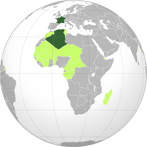 French Fourth Republic -  On modern day borders.   Dark green: Fourth French Republic. Light green: French possessions.
