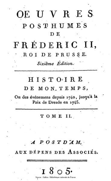 File:Frédéric II de Prusse - Histoire de mon temps, tome 2.djvu