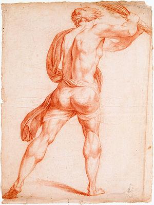 François Baillairgé - Image: François Baillairgé Homme vu de dos, brandissant un fouet d'après « Le Martyre de saint André »