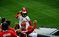 Fredbird, background, the team mascot for the St 130408-F-RN211-050.jpg