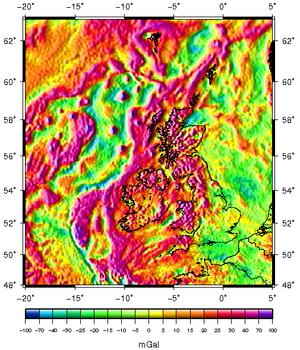 Gravity anomalies of Britain and Ireland - Map of free-air gravity anomalies around the British Isles