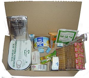 Field ration - A French Army combat ration, with two meals and energy bars.