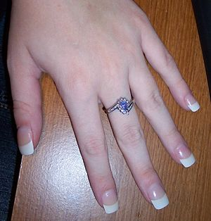An example of a French Manicure, acrylic nails...