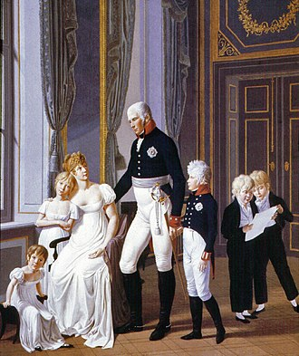 Alexandra Feodorovna (Charlotte of Prussia) - Princess Charlotte (leaning against her mother) with her parents and siblings. Painting by Heinrich Anton Dähling (1806).
