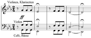 Partition: motif de la cinquième symphonie (sol-sol-sol-mi-bémol, fa-fa-fa-ré)