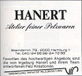 Furrier Hanert Pelze, Hamburg, advertisement 1985.jpg