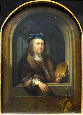 Autoportrait à la palette dans une niche.Tableau maladroitement agrandi au XVIIIesiècle, Paris, Musée du Louvre.