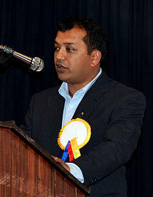Gagan Thapa performing speech in Sydney.jpg