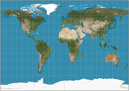 Gall isographic projection. 15deg graticule. Gall isographic projection SW.jpg