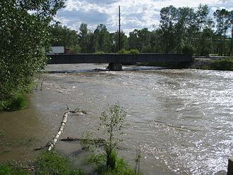 Gallatin River - Gallatin River in full spring runoff flood near I-90 June 2008