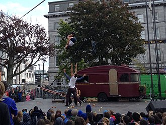 Galway International Arts Festival - Acrobats performing at Eyre Square during GIAF 2015