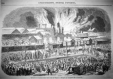 Gravure du journal l'illustration: l'incendie de la gare de Troyes en 1855