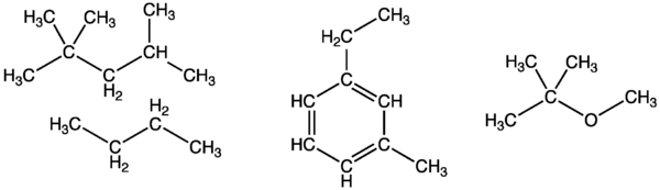 Some of the main components of gasoline: isooctane, butane, 3-ethyltoluene, and the octane enhancer MTBE GasolineComp.png