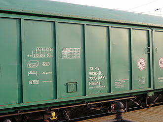 UIC wagon numbers - This ITL Hbbillns goods wagon with  country code 56 is based in Slovakia